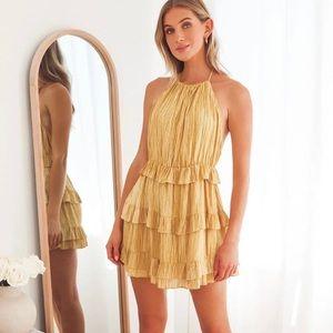 NWT LULUS Yellow Ruffled Halter Mini Dress Medium
